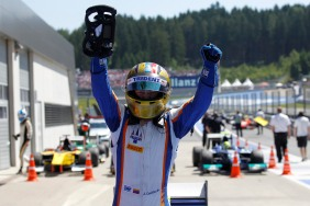 2014 GP2 Series Round 4.Red Bull Ring, Spielberg, Austria.Sunday 22 June 2014.Johnny Cecotto (VEN, Trident), wins the racePhoto: Sam Bloxham/GP2 Series Media Service.ref: Digital Image _G7C9009