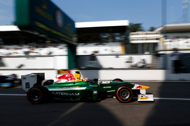 Pierre Gasly racing for Caterham in GP2 this season. Credit goes to GP2 media service for the photo.