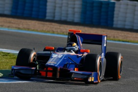 Tom Dillmann driving for Hilmer on the first day of 2013 testing Image credit - GP2 Media Service
